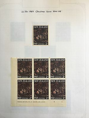 NEW ZEALAND Selection of 1960 Christmas Issue - Mint and Used - 2 pages