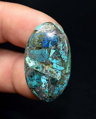 Beautiful ! 24.35 Cts. Natural  Silver  Azurite Oval Cab For Silver Pendant