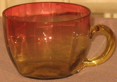 Antique Amberina Small Cup Wide Vertical Panels Applied Amber Handle Pinwheel