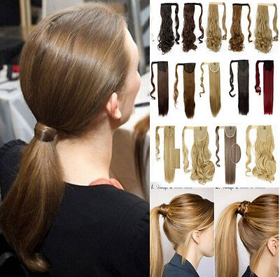 100% Real Thick Clip In as Human Hair Extensions Pony Tail Wrap On Ponytail@_@