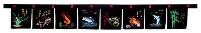 large 8 panel sushi noren valance curtains embroidery restaurant bar supply - 02