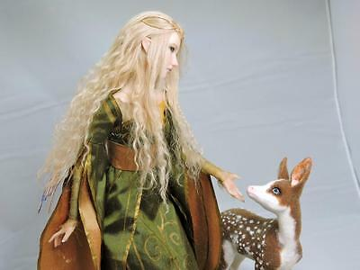 OOAK FAIRY AND FAWN elf fantasy sculpture art doll by Kate Sjoberg