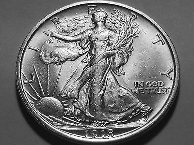 1918-D Walking Liberty Silver Half  * Choice BU * Great Strike for the Date