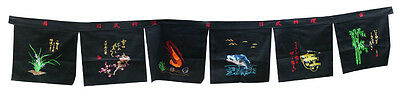 6 panel large noren sushi valance curtain embroidery restaurants shop deco - 22a