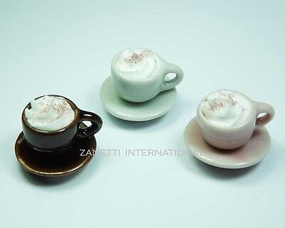 3 Mixed Dollhouse Miniature Cups of Coffee * Doll Mini Food Drink Saucers Cream