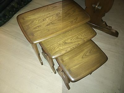 Ercol Solid Elm Nest Of 3 Coffee / Occasional Tables In Golden Dawn
