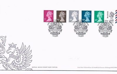 2004 Royal Mail FDC - New Definitive FDC (6 stamps) - issued 1 April 2004