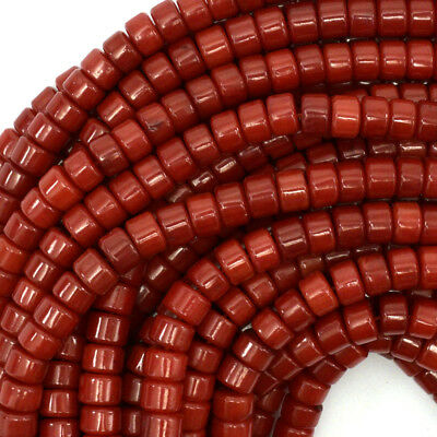 "6mm red coral heishi beads 16"" strand"