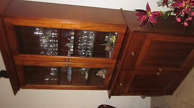 WALNUT GLASS CABINET Unit, two pieces, wood and glass.