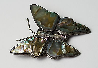 Vintage - Mexico - Sterling Silver & Abalone Butterfly Brooch Pin Weight : 4.6g