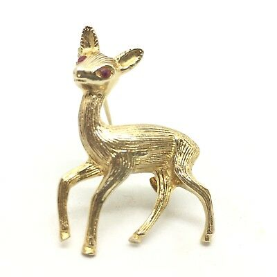 Delightful 9ct Gold Deer Fawn Brooch with Ruby Eyes