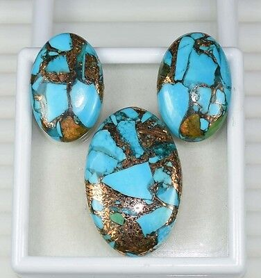 48.20  Cts. Natural Gorgeous Set Of Copper Turquoise  Oval Cabochon Loose Gems
