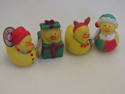 Christmas stocking filler rubber duck bath toys, with reindeer antlers