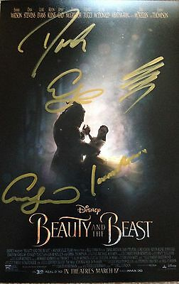 Original Hand Signed Beauty & The Beast Picture, Watson, Stevens, Evans, Gad