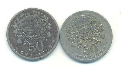Very Rare.portugal.2X50..centavos.1935.1938.key Dates.very Collectable.p.105