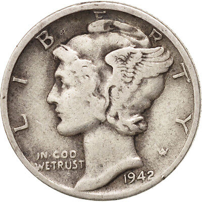 [#406292] United States, Mercury Dime, Dime, 1942, U.S. Mint, Denver, EF(40-45)