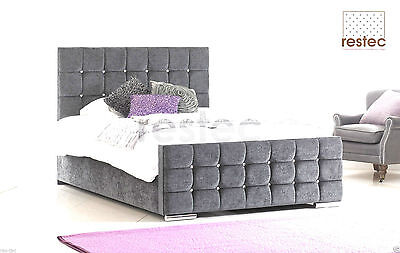 Florence Diamond Fabric Upholstered Bed Frame Grey 4'6 Double 5ft King Size
