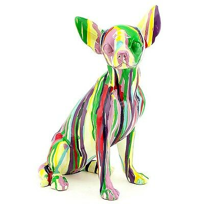 Stunning Large Chihuahua Colourful Art Sculpture Statue Dog New & Boxed