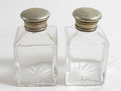 Antique Silver Plate Lid Cut Glass Dressing Table Bottles