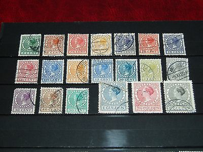 Netherlands - 1924 Queen Wilhelmina selection of 20 different used