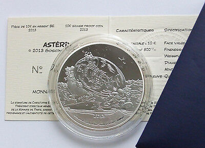 Coffret Euro 10 € Asterix 2013 Argent Be Fdc Silver Pp Proof Certificat