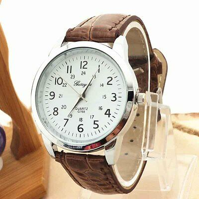 2016 Analog Luxury Sports Leather Strap Quartz Mens Wrist Watch UK Gift NEW