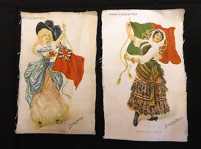 Two (2)  NEBO Cigarettes Tobacco Silks   -England and Portugal (Girls & Flag)