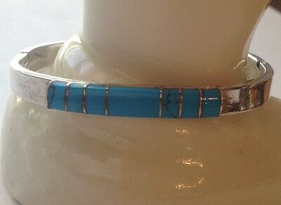 Vintage Sterling Silver Inlaid Turquoise Hinged Bangle Bracelet 925 27g
