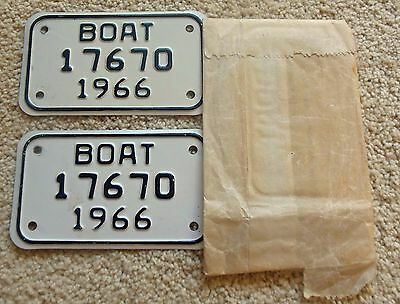 Mint in Wrapper Pair of 1966 Michigan Boat License Plates