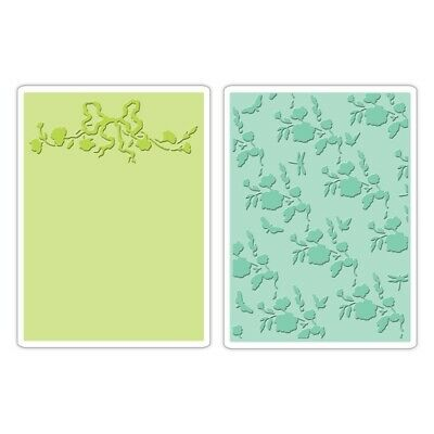 Sizzix Textured Impressions Embossing Folders 2tlg - Arbor & Garden Roses Set by