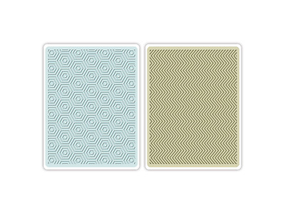 Sizzix Textured Impressions Embossing Folders 2tlg - Hexagons & Chevrons Set by