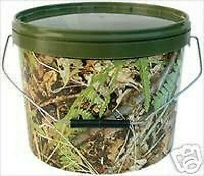 2 x NEW 5ltr CAMO BAIT BUCKETS WITH LIDS FOR CARP / PIKE / SEA FISHING
