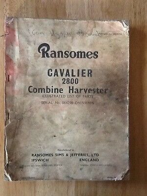 Ransomes Cavalier 2800 Combine Harvester list of parts