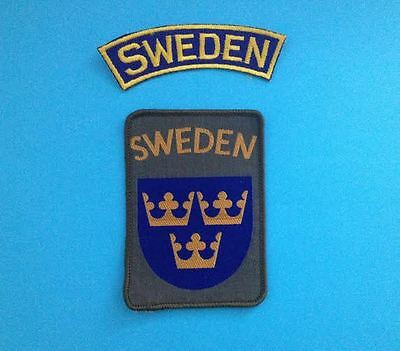 2 Lot Sweden Patch Hat Hippie Jacket Biker Vest Backpack Travel Crest Patches