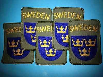 5 Lot Sweden Shield Patch Hat Hippie Jacket Biker Vest Backpack Travel Patches