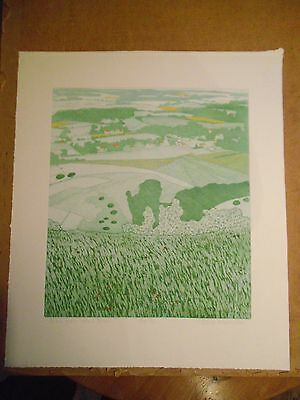 John Brunsdon. Etching With Aquatint. View From Home Brow. Signed. Ltd Ed.