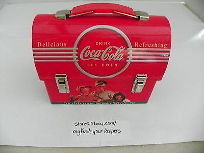 Delicious Refreshing Drink Coca Cola Collector's Dome Tin Lunchbox Mini 5 3/8""