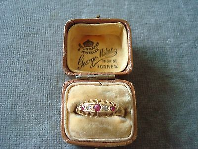 LADIES .750 18CT YELLOW GOLD DIAMOND OLD CUT / RUBY RING 2.1g SIZE P BOXED 5544