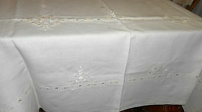 "Antique English Irish Linen Whitework Hand Embroidered Ecru Tablecloth 70"" x 50"""