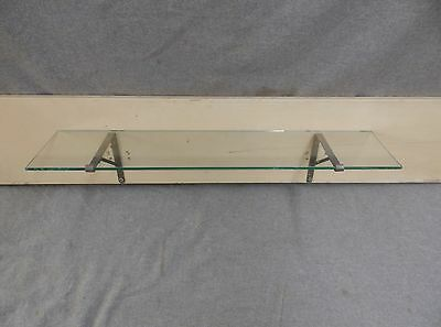 "Antique 24"" Glass Bathroom Kitchen Shelf Nickel Brass Brackets Fixture 31-17E"