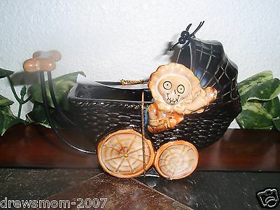 Yankee Candle HALLOWEEN Boney BABY CARRIAGE Tealight Candle Holder