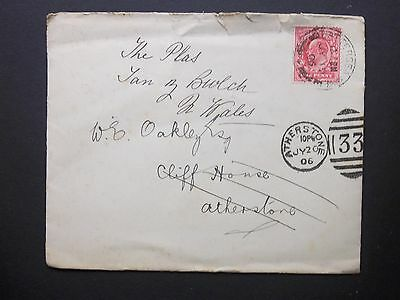 GB 1906 KEVII 1d Envelope BATTERSEA d/c redirected 33 ATHERSTONE Duplex to Wales