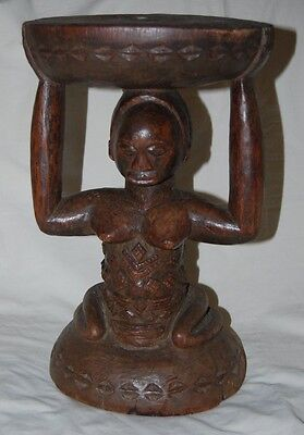 African Luba Congo Wood Carved Stool Seat Tribal Art
