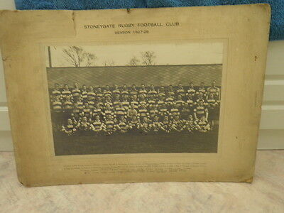 Leicester Stoneygate Rugby Football Club Photograph 1927-28 Season Named Players