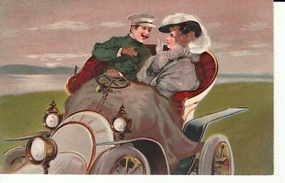 Early EMBOSSED couple in vintage car - is he in trouble?