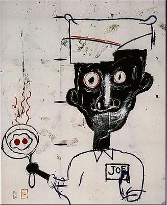 """Jean Michel Basquiat Eyes and Eggs Abstract HUGE Oil Painting Canvas 20x28"""""""