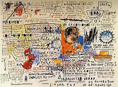 Jean Michel Basquiat Oil Painting on Canvas Abstract decor 50 Cent Piece 24x30""