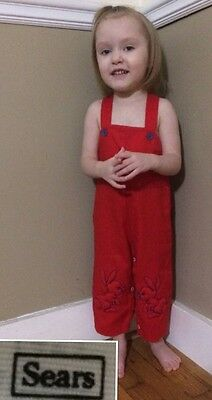 "Vintage 1970s Boys SEARS Red Overalls Puffy BUNNIES ""L"" (Fit Like 18 Months)"