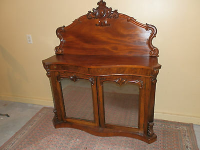 Gorgeous Antique Victorian Mirrored Front Carved Credenza  Console
