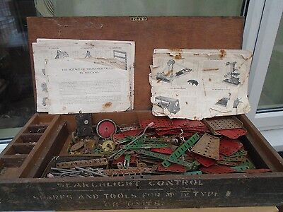 large collection of vintage metal meccano inside unusual antique wooden box LOOK